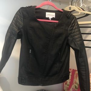 Bcbg generation black leather/denim jacket